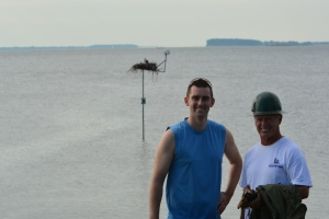 Jeff from the Chesapeake Conservancy and Crazy Osprey Man after Ozzie's rescue