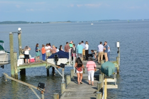 Happy Hour Dock Party on our dock with the folks from the Chesapeake Conservancy.  Tom, Audrey and the kids were watching from nearby.