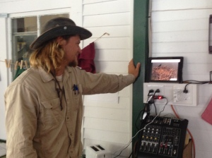 Eric watching the ospreycam from Hog Island, Maine